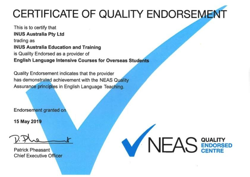 Certificate of Quality Endorsement NEASの品質保証認定書